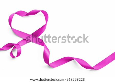 Purple lavender heart ribbon element isolated on white background (clipping path), raising awareness on national cancer control month #569239228