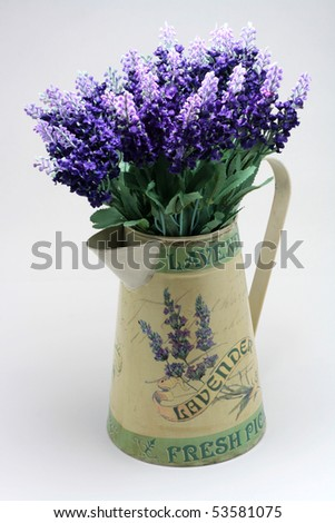 Purple Lavender in Pot - stock photo