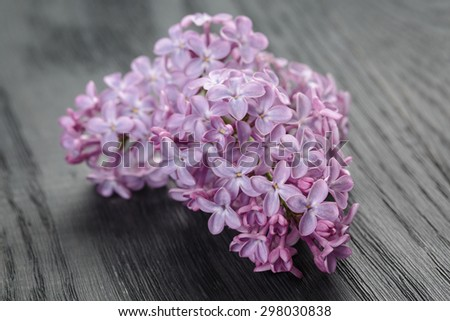 purple lilac flowers on old oak table, summer rustic flowers