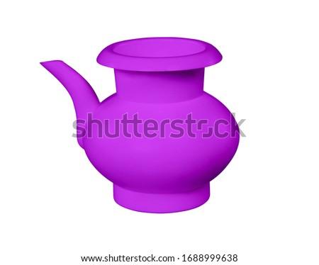 Purple, lota, vessel, bodna, watering pot, garden water pot, Watering can, Watering can isolated, Watering flowers with a water can in garden, water can, plastic water, 3D rendering,