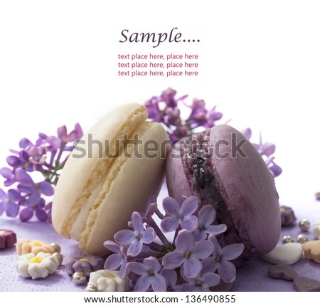 purple macaroons wtih lilac decoration