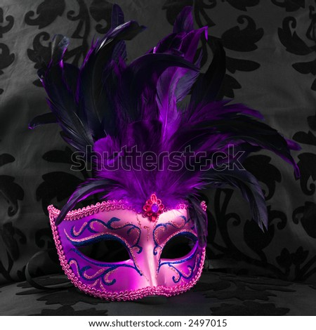 stock photo : purple mask on a black velvet background (Venice)
