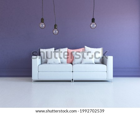 Purple minimalist living room interior with sofa on a wooden floor, decor on a large wall, white landscape in window. Home nordic interior. 3D illustration