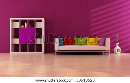 purple modern interior with colored sofa and book case - rendering