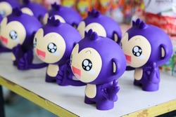 Purple Monkey dolls for piggy bank,. Wich is an idea of  bank for customer to keep money