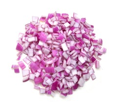 purple onion slices isolated on white background