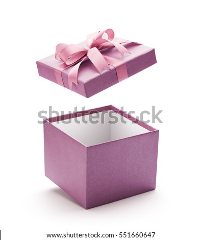 Purple open gift box isolated on white background - Clipping path included #551660647