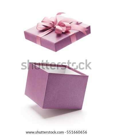 Purple open gift box isolated on white background - Clipping path included #551660656