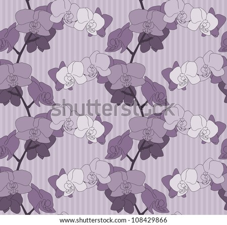 Purple Orchid flower stem seamless Background with stripes. Raster Version.