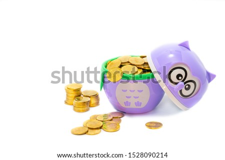 purple owl   wears a gold coin, which is two baht coins in Thailand. The meaning of the picture is Owls show knowledge That leads to generating revenue