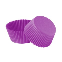 Purple paper cupcake forms for baking isolated over white background, muffin forms object photography, confectionery baking forms clipart