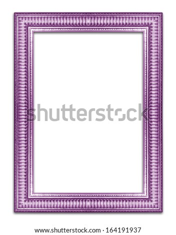 purple picture frame .Isolated on white background