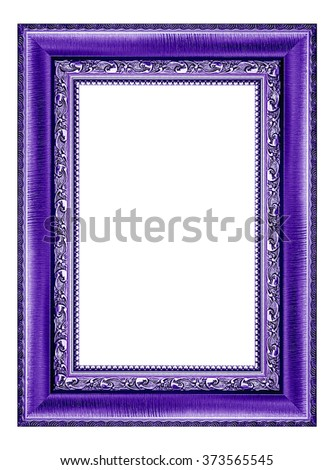 purple picture frame isolated on white background.