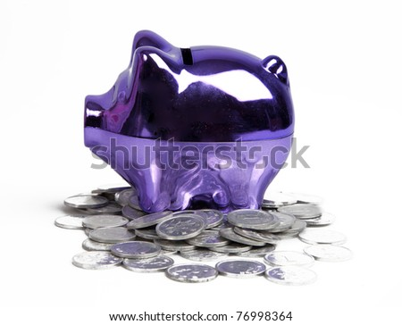 Purple piggy bank on white background