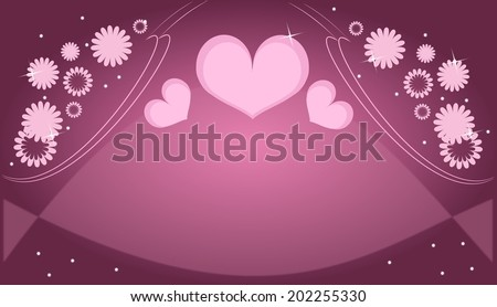Purple pink love card with hearts and flowers decoration