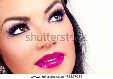Purple/pink makeup close-up