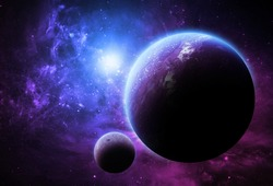 Purple Planet and Moon - Elements of this image furnished by NASA