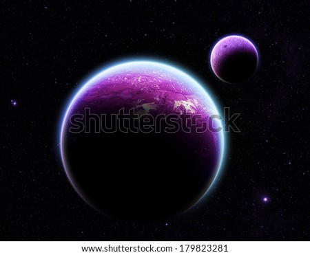 Purple Planet and Moon on Stars - Elements of this Image Furnished by NASA