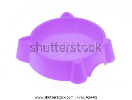 purple plastic bowl for pet food isolated on white background #776842441