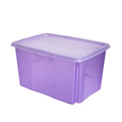purple plastic box with lid isolated on white