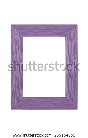 purple plastic picture frame with line pattern, isolated on white