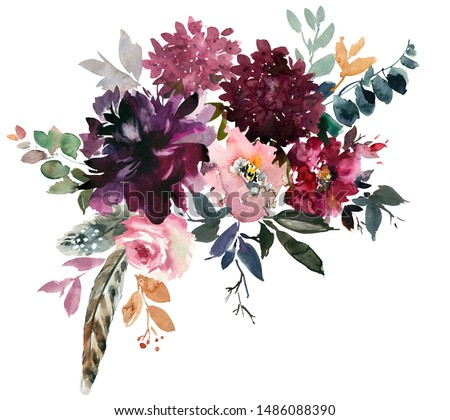 Purple Plum Maroon Burgundy Peony Rose Watercolor Floral Arrangement Isolated on White Background