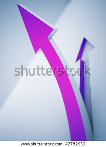 purple pointer, rising up on a light background