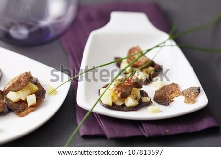 purple potato crisps with foie gras
