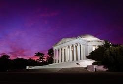 Purple pre-dawn skies over the Jefferson Memorial in Washington DC along the Tidal Basin.