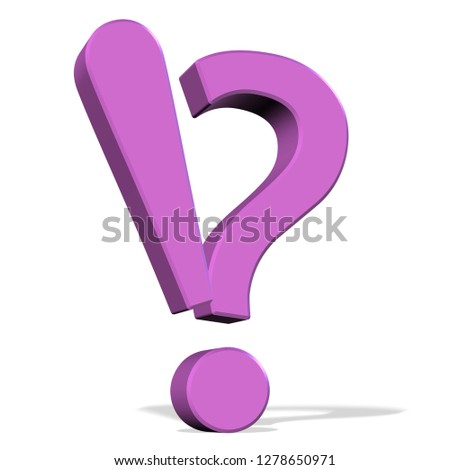 Purple question mark and exclamation mark, 3d illustration, white background