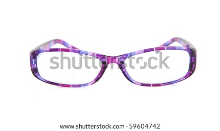 purple reading glasses isolated on white background