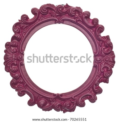 Purple Round Modern Vibrant Colored Empty Frame Isolated on White with a Clipping Path.