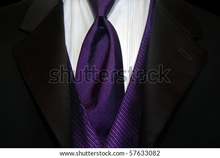 purple satin tie with black tux