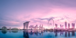 Purple scenic sunset and skyline of downtown district and Marina bay, Singapore