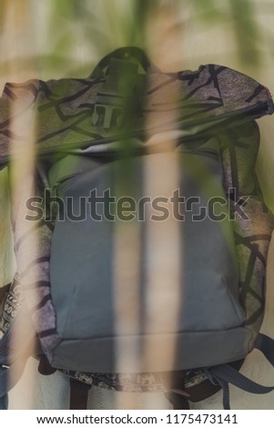Purple School Backpack Hanging on the Wall - Isolated Object with White Background with Green Plant Infront of it,Vintage Film Edit