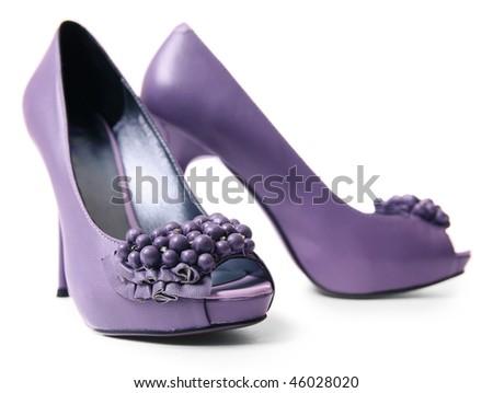 Purple shoe over white