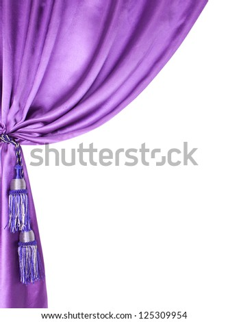 purple silk curtain isolated on white background