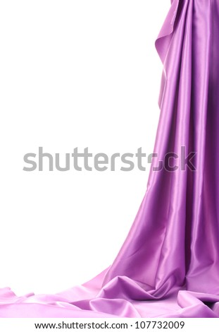 purple silk drape isolated on white
