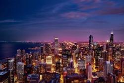 Purple Skyline Panorama of Chicago Loop
