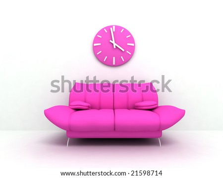 Purple sofa and clock in modern interior of a light living room