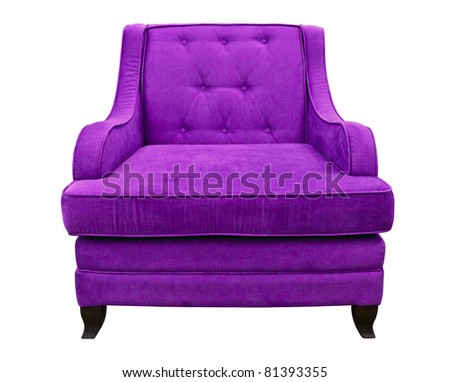 purple sofa isolated on white background
