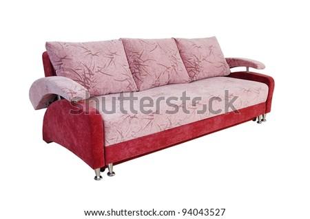 purple sofa on white background