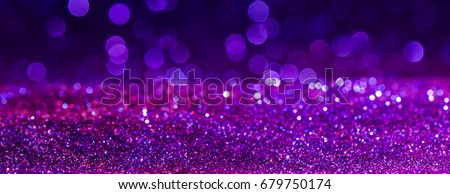 purple Sparkling Lights Festive background with texture. Abstract Christmas twinkled bright bokeh defocused and Falling stars. Winter Card or invitation. #679750174
