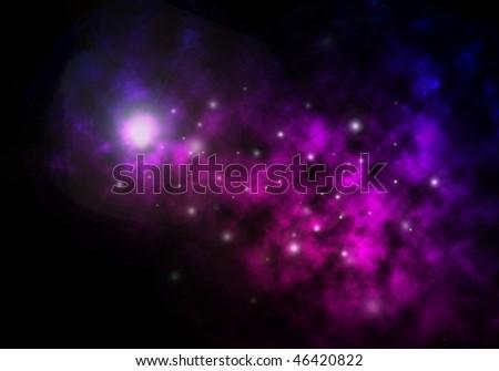 Purple star nebula rendering