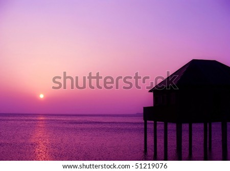 Purple sunset at Lake Constance in Europe