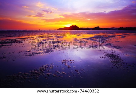 purple sunset beaches. stock photo : Purple sunset over a each during low tide