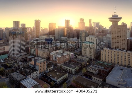 Purple sunset over downtown vancouver