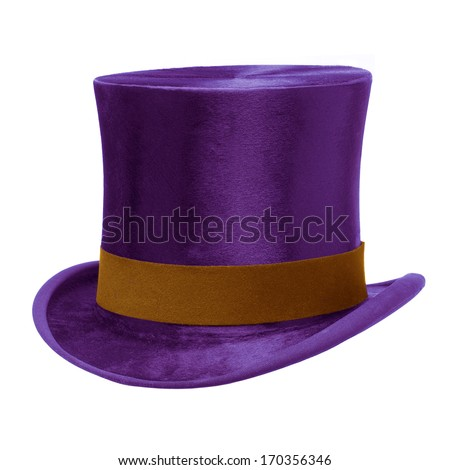 Purple Top Hat with brown band, isolated against white background Сток-фото ©