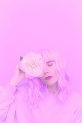 Purple Vanilla flowers Girl aesthetic. Monochrome color trends. Violet  sensual mood