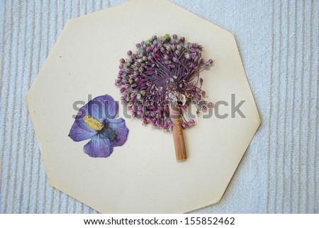 Purple vintage dried flower on paper/Dried flowers